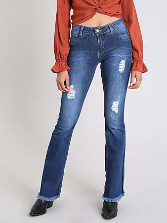 Sawary Calça Jeans Feminina Sawary Flare com Rasgos Azul Escuro