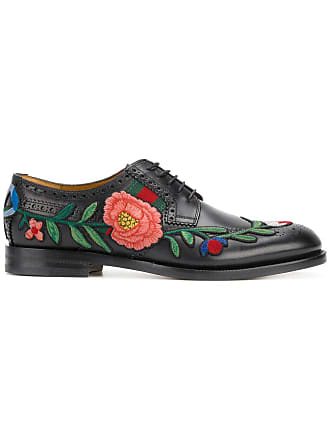 b8066883a87 Gucci floral embroidered brogues - Black