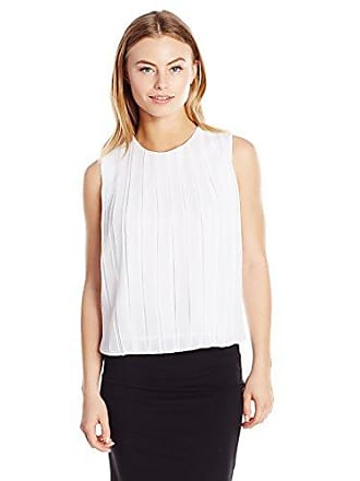 Calvin Klein Womens Petite Size Pleated Top, White, Large