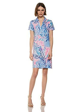 Lilly Pulitzer Womens UPF 50+ Sadie Polo, Crew Blue Tint Kaleidoscope Coral Engineered Dress XL