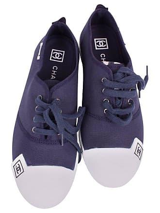 398d56fdedd00 Chanel Sneaker Canvas - Dark Blue white