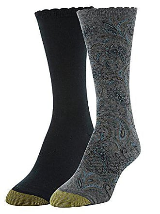 Gold Toe Womens Little Black Paisley and Flat Knit Crew Socks, 2 Pairs, Charcoal, Shoe Size: 6-9