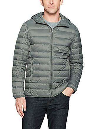 Amazon Essentials Mens Lightweight Water-Resistant Packable Hooded Down Jacket, Grey, Large