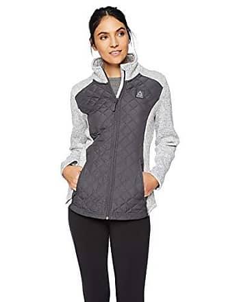 Reebok Womens Quilted Sweater Fleece Jacket, Diamond Charcoal, M