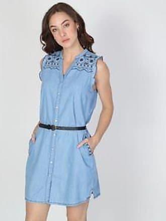 ca34342bb8 Pepe Jeans London Vestido con Bordado de Flores en Superior br Azul Claro