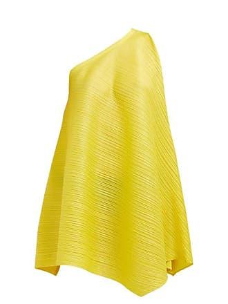 Pleats Please Issey Miyake One Shoulder Sleeveless Tech Pleated Dress - Womens - Yellow