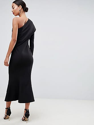 ceda2e809fe9 Asos Tall ASOS DESIGN Tall one shoulder fit and flare midi dress - Black