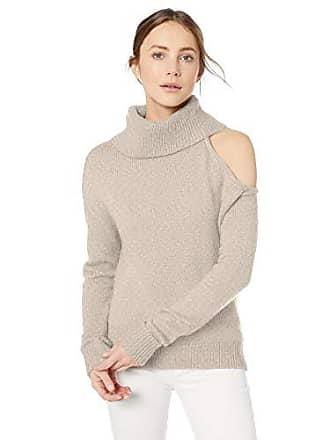 Guess Womens Long Sleeve Lennox Shoulder Cutout Sweater, Heather Light Oatmeal S