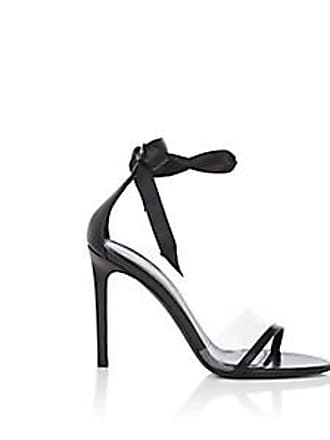 8adf617d92ac CALVIN KLEIN 205W39NYC Womens Camri Leather   PVC Ankle-Tie Sandals - Black Size  10