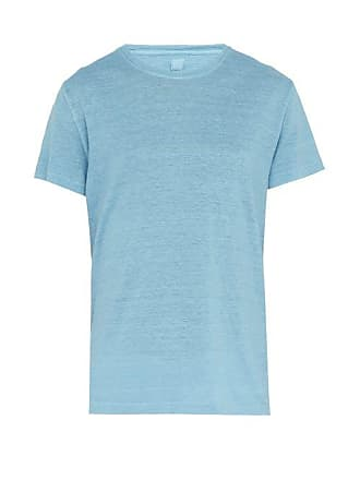 120% Lino Slubbed Linen Jersey T Shirt - Mens - Light Blue