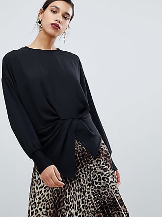 Y.A.S asymetric hem top with waist detail - Black