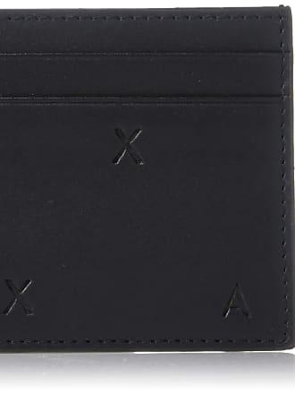 A X Armani Exchange Mens Logo Plaque Credit Card Holder, Black, One Size