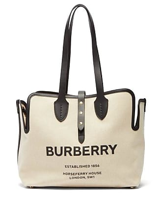 d0e0ae9a0 Burberry Logo Print Leather Trimmed Canvas Tote Bag - Womens - White Multi