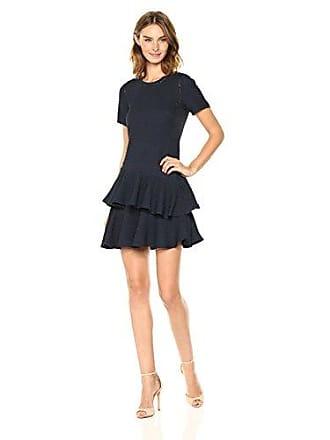 Rebecca Taylor Womens Shortsleeve Pucker Jacquard Dress, Navy, 2