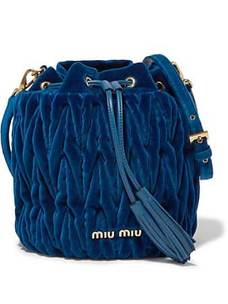 Miu Miu Leather-trimmed Matelassé Velvet Bucket Bag - Cobalt blue 298477631d778