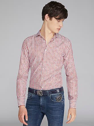 Etro Striped Jacquard Cotton Shirt, Man, Red, Size 38