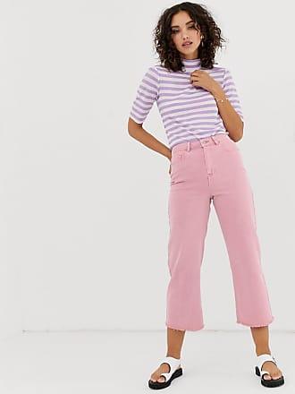 Vero Moda wide leg cropped jeans in pink - Purple