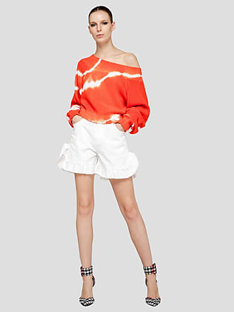 Msgm denim shorts with rouches