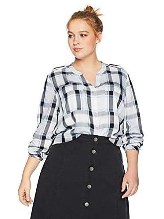 5dff22e08c60c0 Jones New York Womens Plus Size Mix Media Shirttail Hem Blouse, Crystal  Blue Combo,