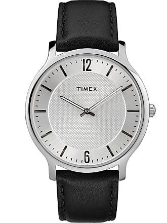 Timex Watch Mens Metropolitan 40MM Leather Silver-Tone/black/silver-Tone Item Tw2R50000Jt