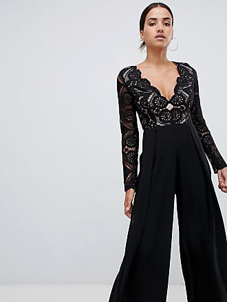 69c9036126 Love Triangle all over cut work lace top wide leg split jumpsuit in black