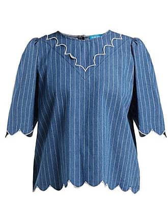 Mih Jeans Cowan Scalloped Cotton Chambray Blouse - Womens - Blue Stripe