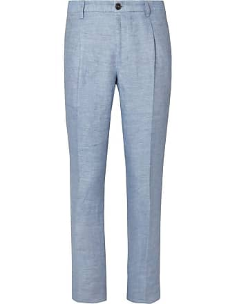 Tod s Slim-fit Tapered Washed-linen Trousers - Light blue 6102af27f317e