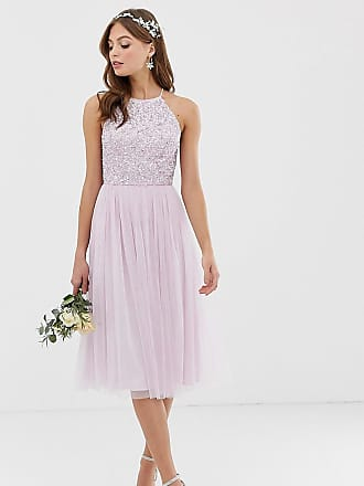 Maya Bridesmaid halter neck midi tulle dress with tonal delicate sequins in soft lilac - Purple