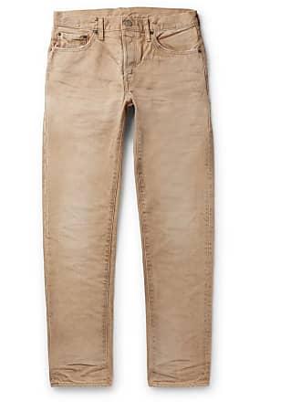 Fabric Brand & Co. Slim-fit Distressed Denim Jeans - Beige