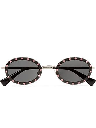 9101ac6d8183 Valentino Valentino Garavani Oval-frame Crystal-embellished Acetate And  Gold-tone Sunglasses -