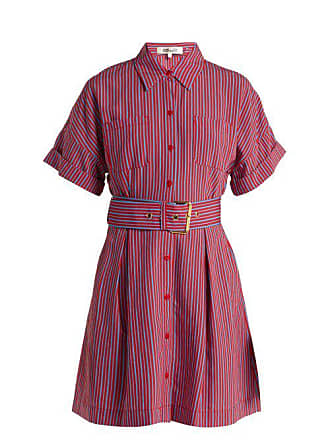 Diane Von Fürstenberg Striped Patch Pocket Shirtdress - Womens - Red Stripe