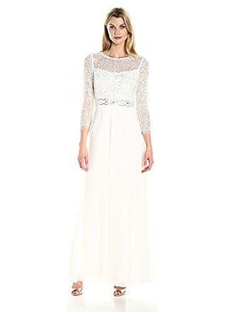 Decode 1.8 Womens 3/4 Sleeve Beaded Illusion Dress, Ivory, 0