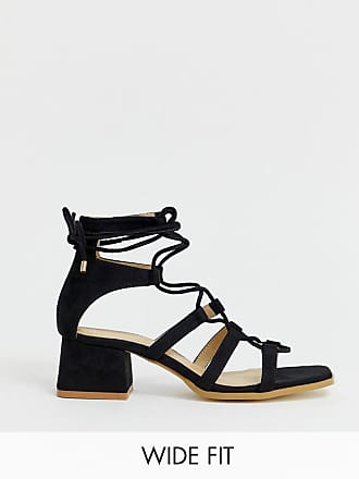 0eb572eb22 Raid RAID Wide Fit Gekko square toe black tie up gladiator sandals