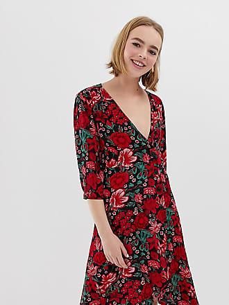 ebd9598cb60 Monki floral print wrap dress with buttons in red