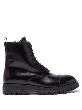 41883aaf610 Prada Lace Up Leather Boots - Womens - Black