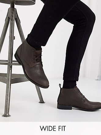 River Island Wide Fit leather boots in dark brown-Grey