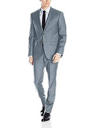 DKNY Mens All Wool Slim Fit Suit, Grey Twill 44 Short