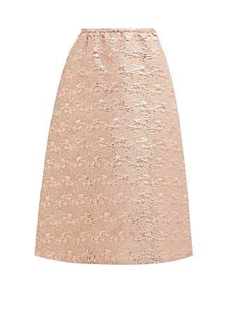Rochas Floral Brocade Wool Blend Midi Skirt - Womens - Pink