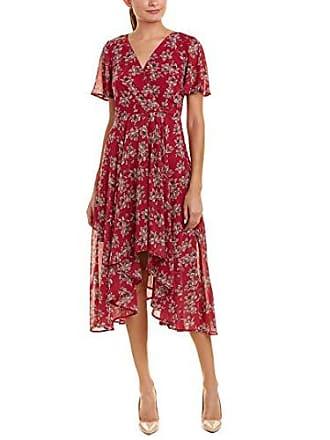 Sharagano Womens Printed Chiffon hi Low Dress, Piper Berry, 4