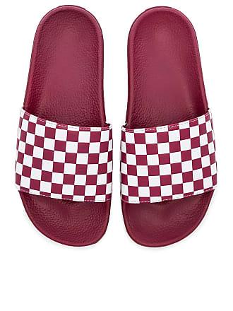 Vans Checkerboard Slides in Red