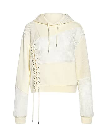 McQ by Alexander McQueen Lace-up Waffled Patch Hoodie Sweatshirt Ivory
