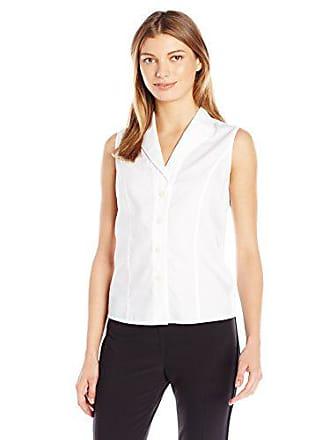 Calvin Klein Womens Sleeveless Wrinkle Free Button Down Shirt, White, 8