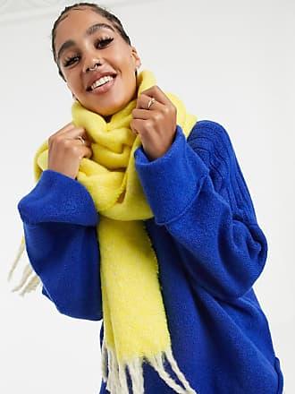 Asos Soffice sciarpa lunga bicolore con nappe gialla-Giallo