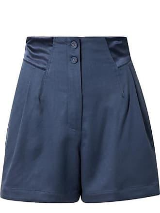 Fleur du Mal Satin-trimmed Silk And Wool-blend Piqué Shorts - Storm blue