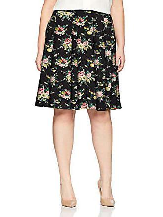 c494d9a1e9 Star Vixen Womens Plus-Size Knee Length Full Skater Skirt, Burgundy Ground  Floral,