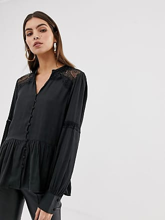 Y.A.S lace detail button through shirt - Black