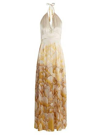 Adriana Iglesias Camille Floral Print Halterneck Stretch Silk Gown - Womens - White Gold