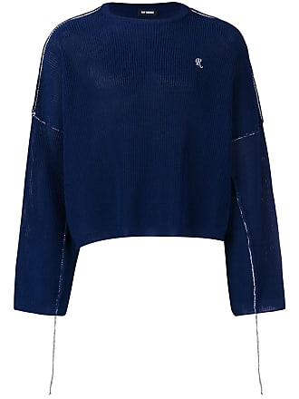 Raf Simons cropped ribbed knit sweater - Blue