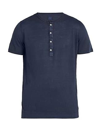 120% Lino Henley Linen T Shirt - Mens - Dark Navy