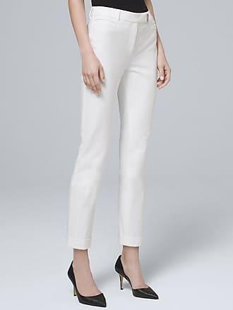 White House Black Market Womens Slim Crop Pants by White House Black Market, White, Size 16 - Regular
